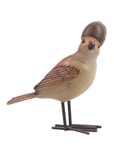 Warm Design Meşe Palamudu Kuş Dekoratif Obje Kahve